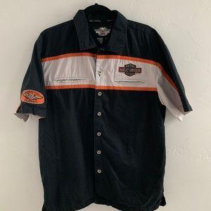 Harley Davidson Short Sleeve Button Down Shirt L